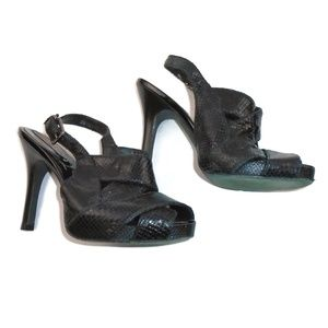 BCBGMaxAzria Black Leather Reptile Heels Size 8